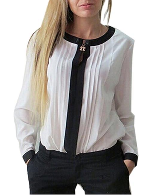 Qitun Blusa Camisa Gasa Color Sólido Camiseta Mujer Mangas Largas Elegante Oficina Casual Blanco S