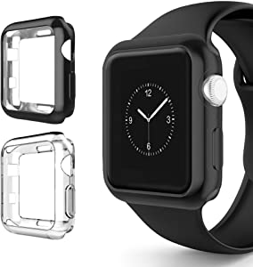 Alritz for Apple Watch 3 Bumper 42mm 38mm, Soft TPU Protective Case Cover for Apple Watch Series 1 Series 2 Series 3 Nike+ Sport Edition (Black/Clear, 38mm)