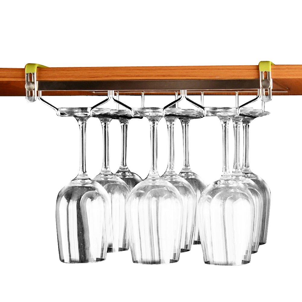 VOBAGA Stemware Racks 3 Rows Adjustable Stainless Steel Wine Glass Rack Stemware Hanger Bar Home Cup Glass Holder Dinnerware Kitchen Dining,Hold 9 Glasses