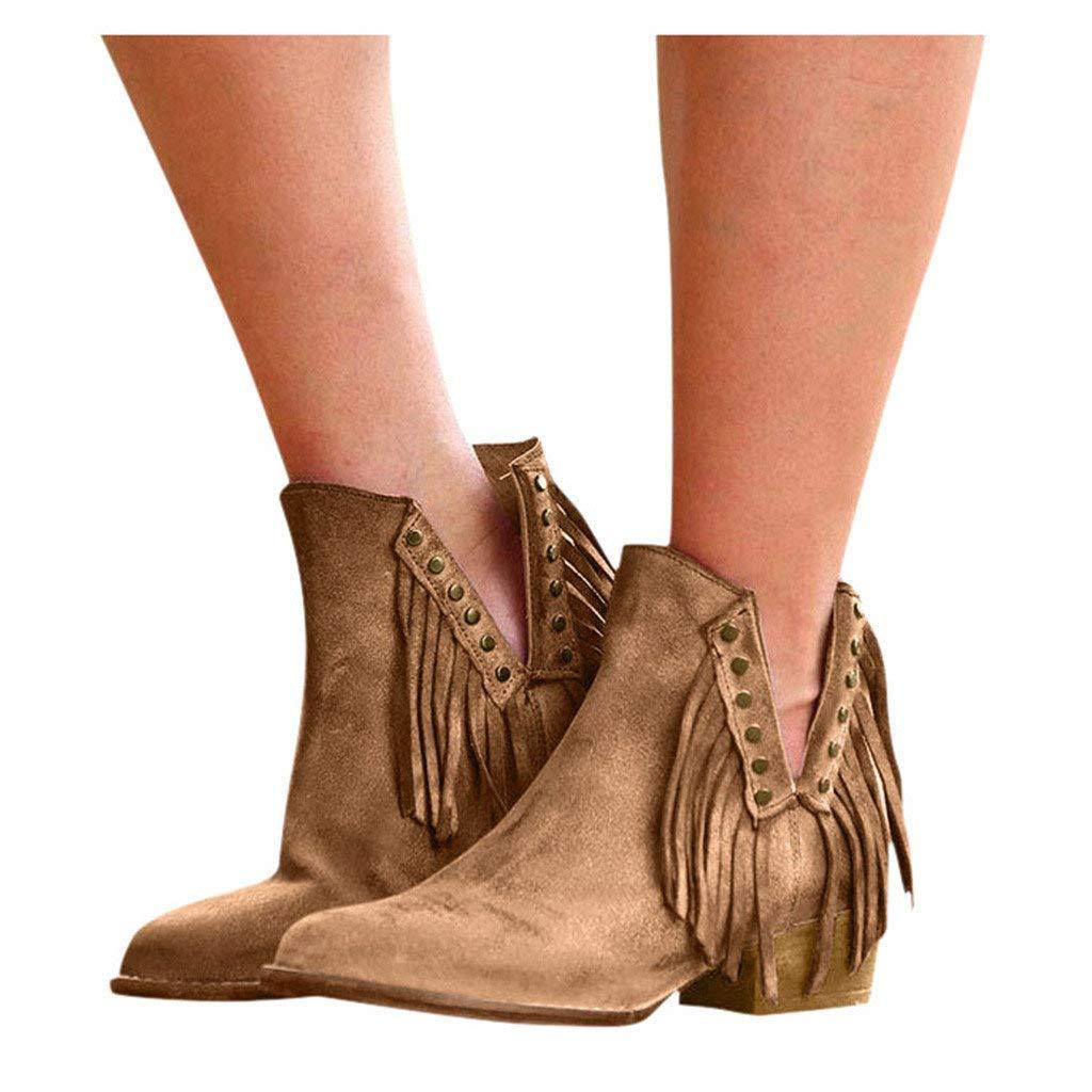 Veodhekai Women Retro Short Boots Low Heel Roman Shoes Ankle Flat Loafers Flock Casual Lady Cute Shoes Yellow by Veodhekai