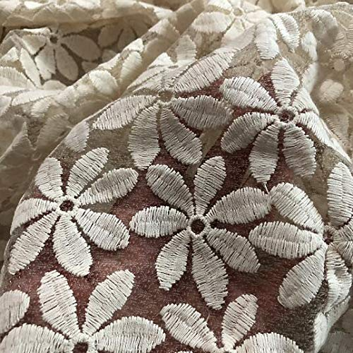 14 beige voile   L Lace Crafts  2Yard Nigerian Lace Fabrics For Wedding Dress Off White African Cord Lace Fabrics High Quality Lace Mesh Cotton Material  (color  10 mesh, Size  L)