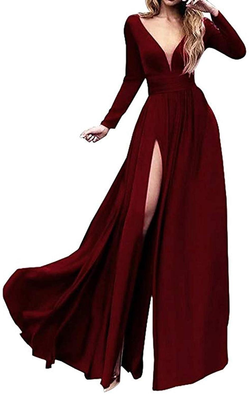 Burgundy Ri Yun Women's Double VNeck Long Sleeve Prom Dresses Long 2019 Side Slit Formal Evening Ball Gowns