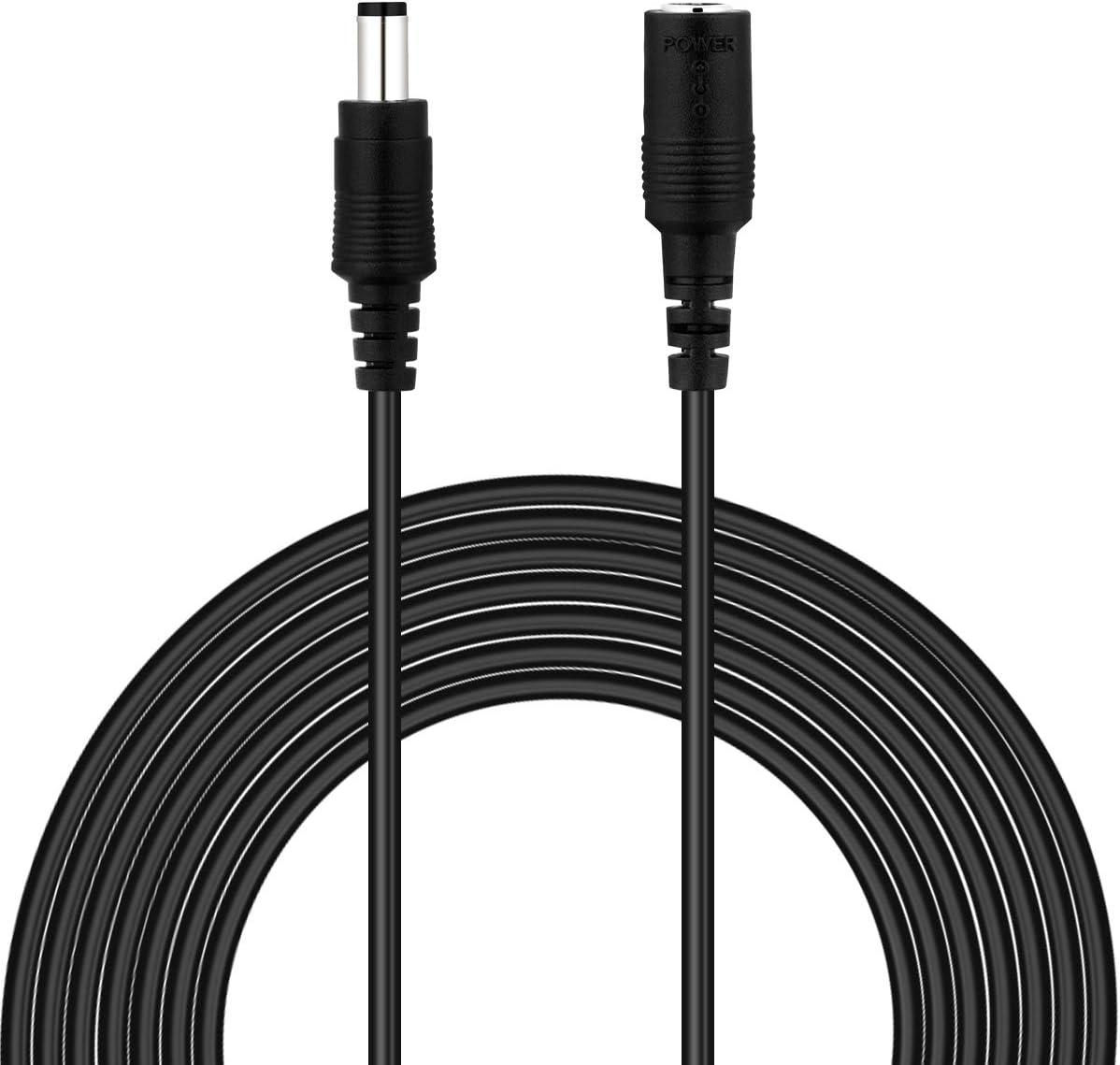 Dericam Cable de extensión de cargador de pared para adaptador de corriente de 6 metros, cable de extensión de CC de 12 voltios, tamaño de conector de 5.5x2.1 mm, 12V-6M, Negro