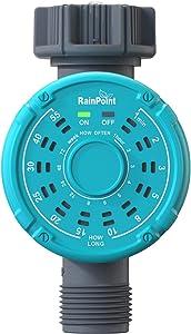 RAINPOINT Sprinkler Timer,Digital Water Timer Available (12x12) 144 Irrigation Plans,Programmable Hose Timer One Touch Setup Leakproof Waterproof Irrigation Timer for Garden Lawns Plants,1-Outlet,Blue