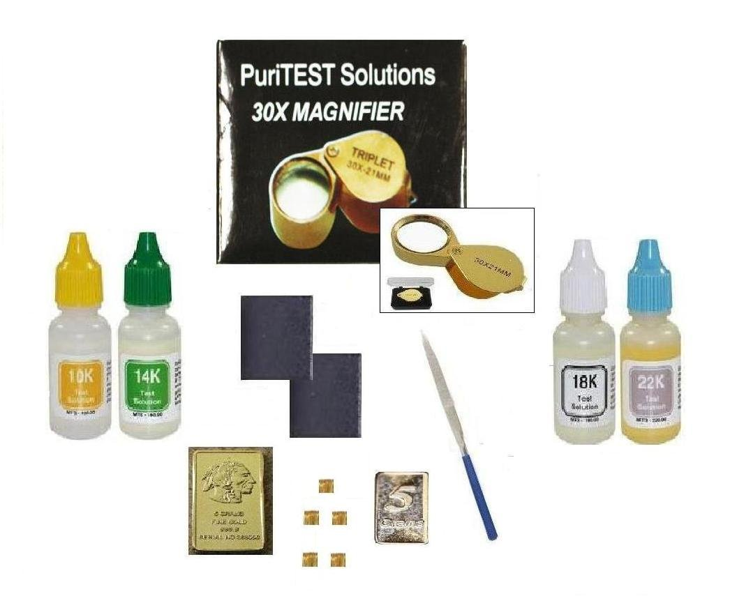 Professional PuriTEST Pack Testing Solutions Plus Accessories and Solid Fine Gold and 999 Silver Samples by puritest