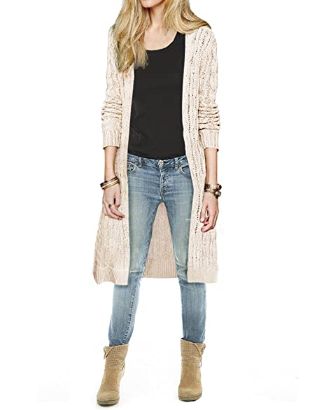 Womens Cali Holi Cable Knit Open Front Long Knee Length Cardigan ...