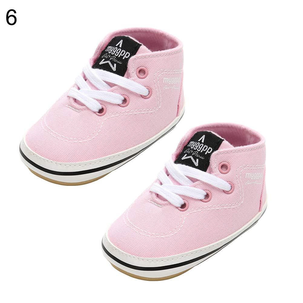 Pink 11cm Alamana Fashion Infant Baby Girl Boy Canvas Anti-Slip Prewalker Toddler Casual Shoes