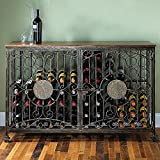Wine Enthusiast 84 Bottle Antiqued Steel Wine Jail Console, Bronze