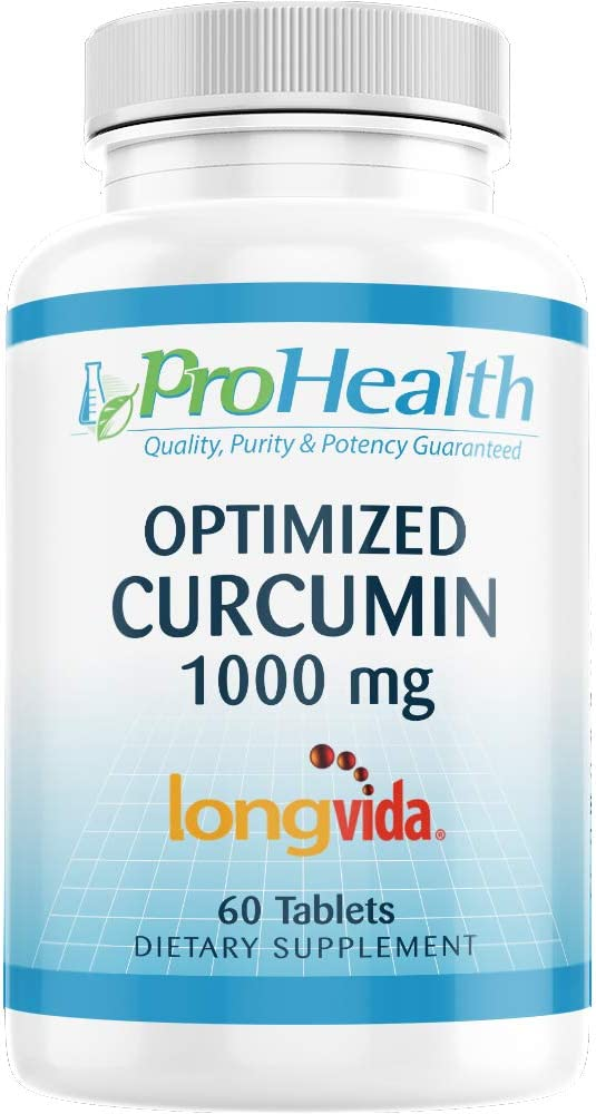 ProHealth Optimized Curcumin Longvida 1000 mg, 60 Tablets 285x More Bioavailable Joint Health Memory and Cognition Anti-Inflammatory Antioxidant Supplement