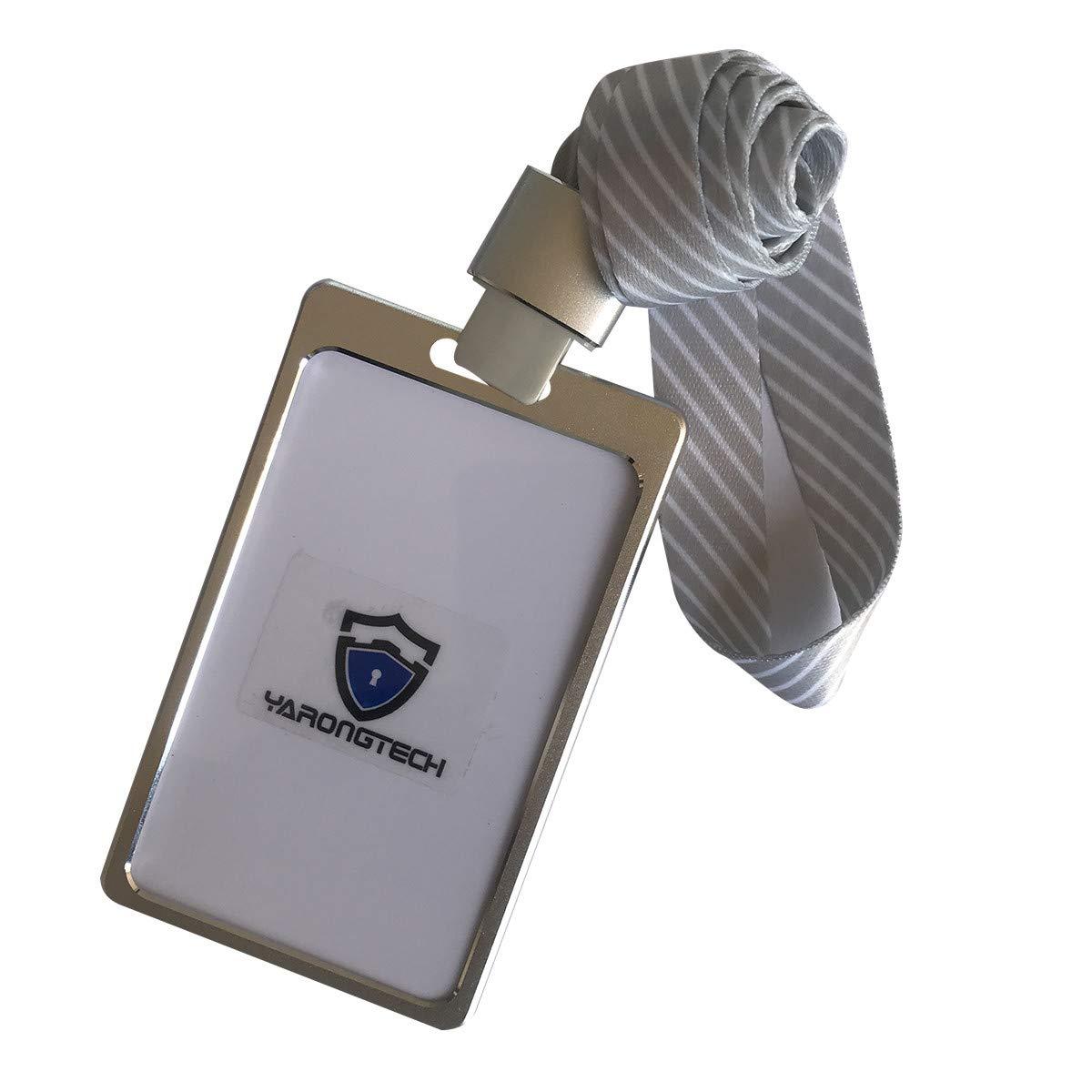 Ausweishalter aus Aluminiumlegierung, für Arbeitsausweis, mit abnehmbarem Band Silver-1pc