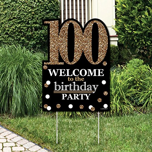 Big Dot of Happiness Adult 100th Birthday - Gold - Party Decorations - Birthday Party Welcome Yard Sign]()