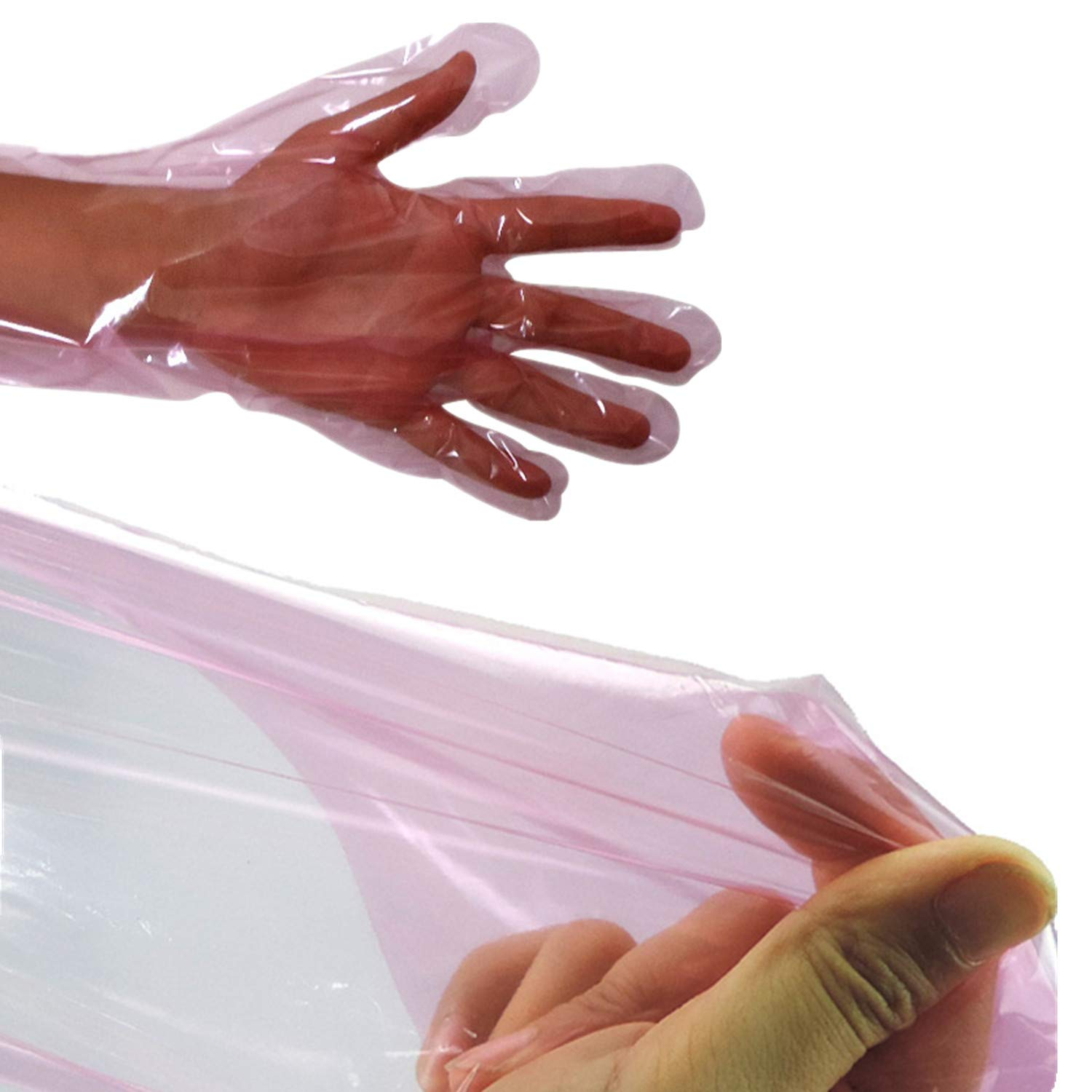 50 Pcs Disposable Soft Plastic Film Gloves Long Arm Veterinary Examination Artificial Insemination Glove by PPX by PPX (Image #3)
