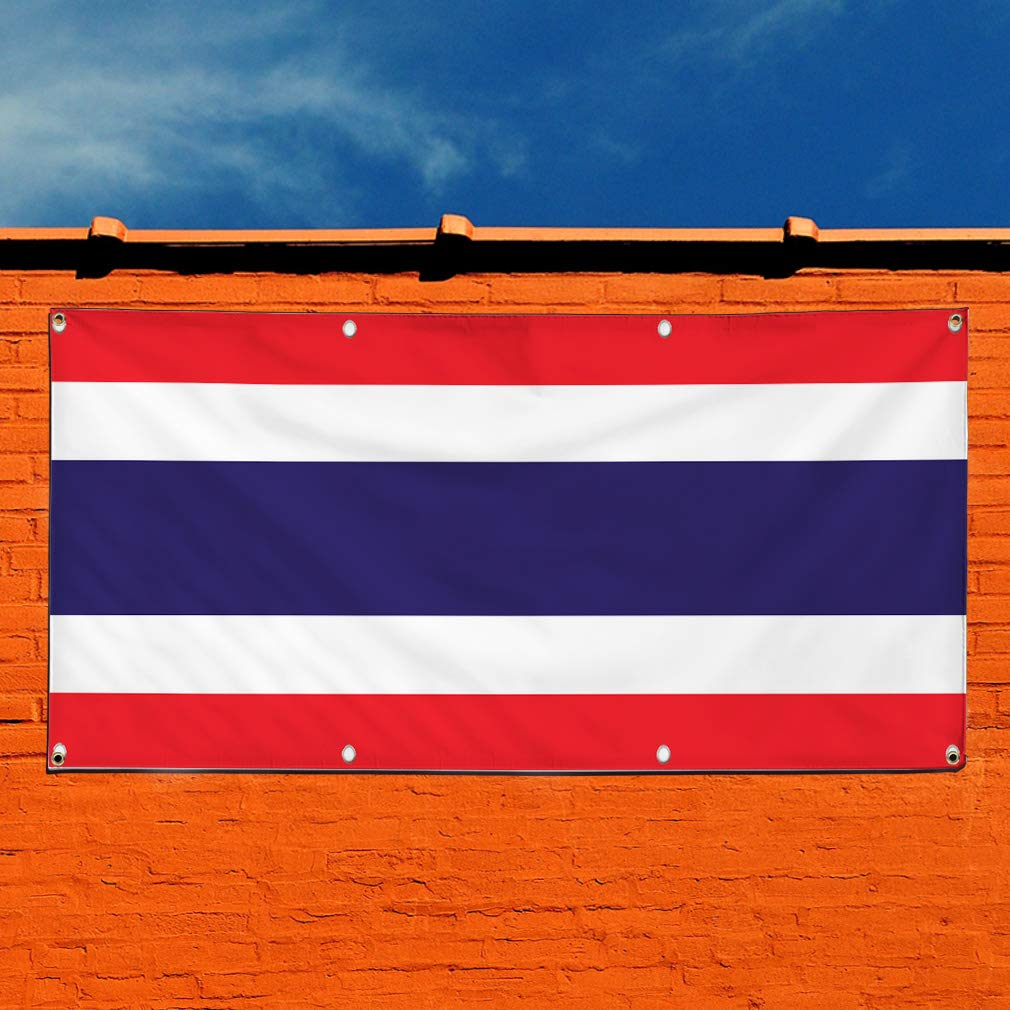 Vinyl Banner Sign Thailand Flag Red White Blue Countries Marketing Advertising Red Set of 2 28inx70in Multiple Sizes Available 4 Grommets