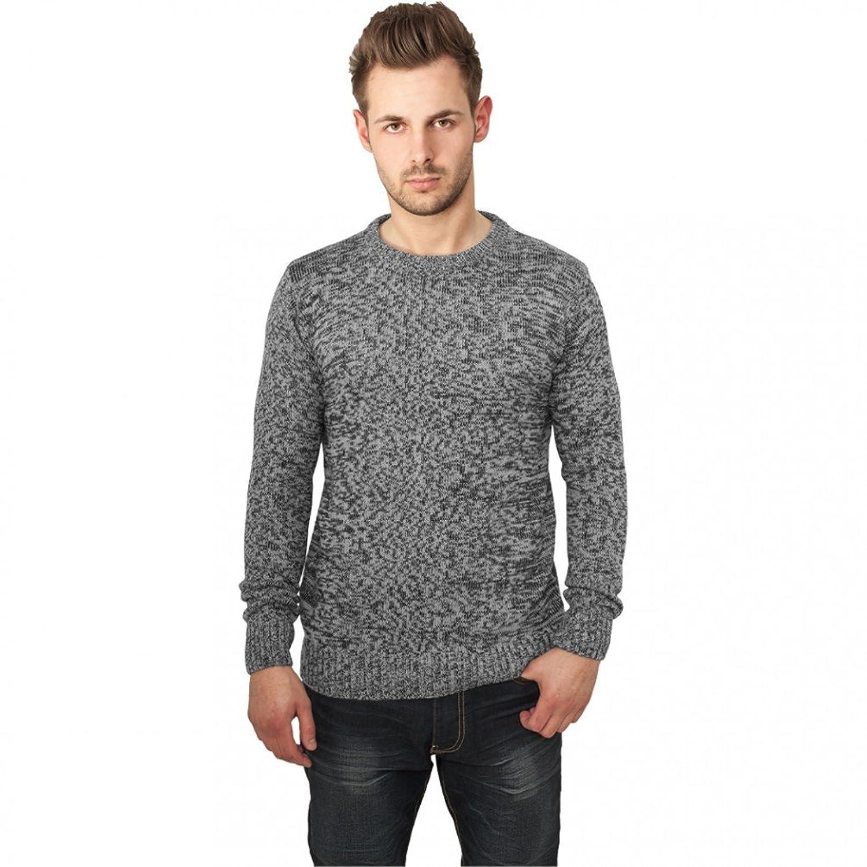 Urban Classics Melange Knittered Crew Jumper Grey