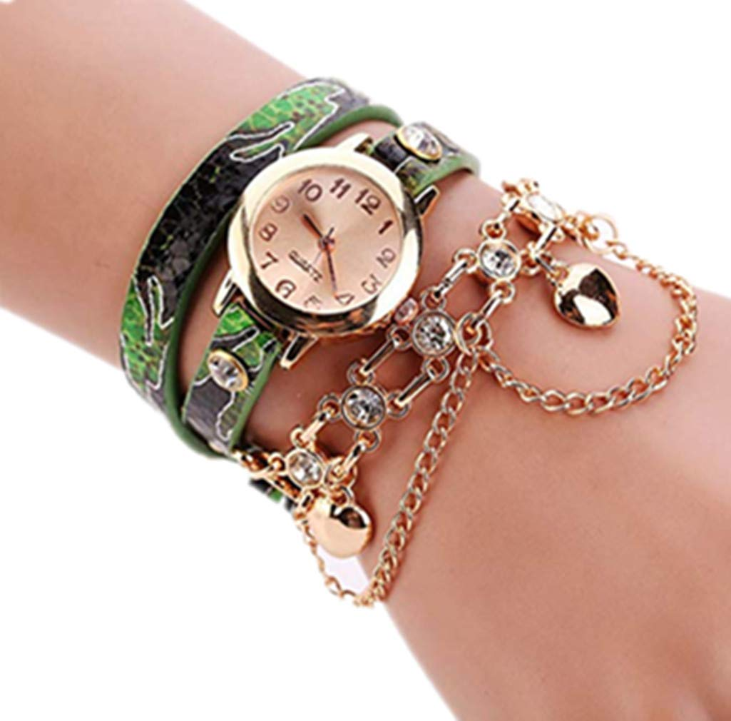 Windoson Bracelet Watch Fashion Snake Skin Pattern Ladies Circle Watch Jewelry Long Belt Quartz Watch