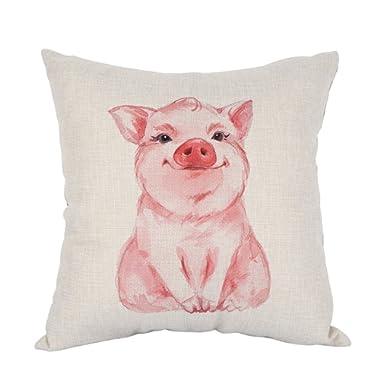 Moslion Pig Pillow Lovely Pink Pig Watercolor Cotton Linen Pillow Covers Square Pillow Cases for Men Women Boys Girls Kids Cushion Pillowcase Sofa Bedroom Livingroom 18 x18  Pink