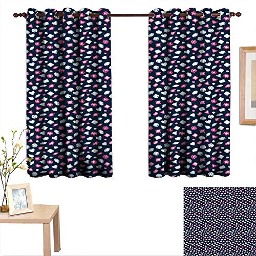 (aotuma Bedroom Curtain Diamonds,Round Marquise Square and Heart Shaped Crystals with Ruby Arrangement,Dark Blue Pink Pearl,Insulating Room Darkening Blackout Drapes 42