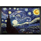 overstockArt Starry Night Framed Oil Reproduction of an Original Painting by Vincent Van Gogh