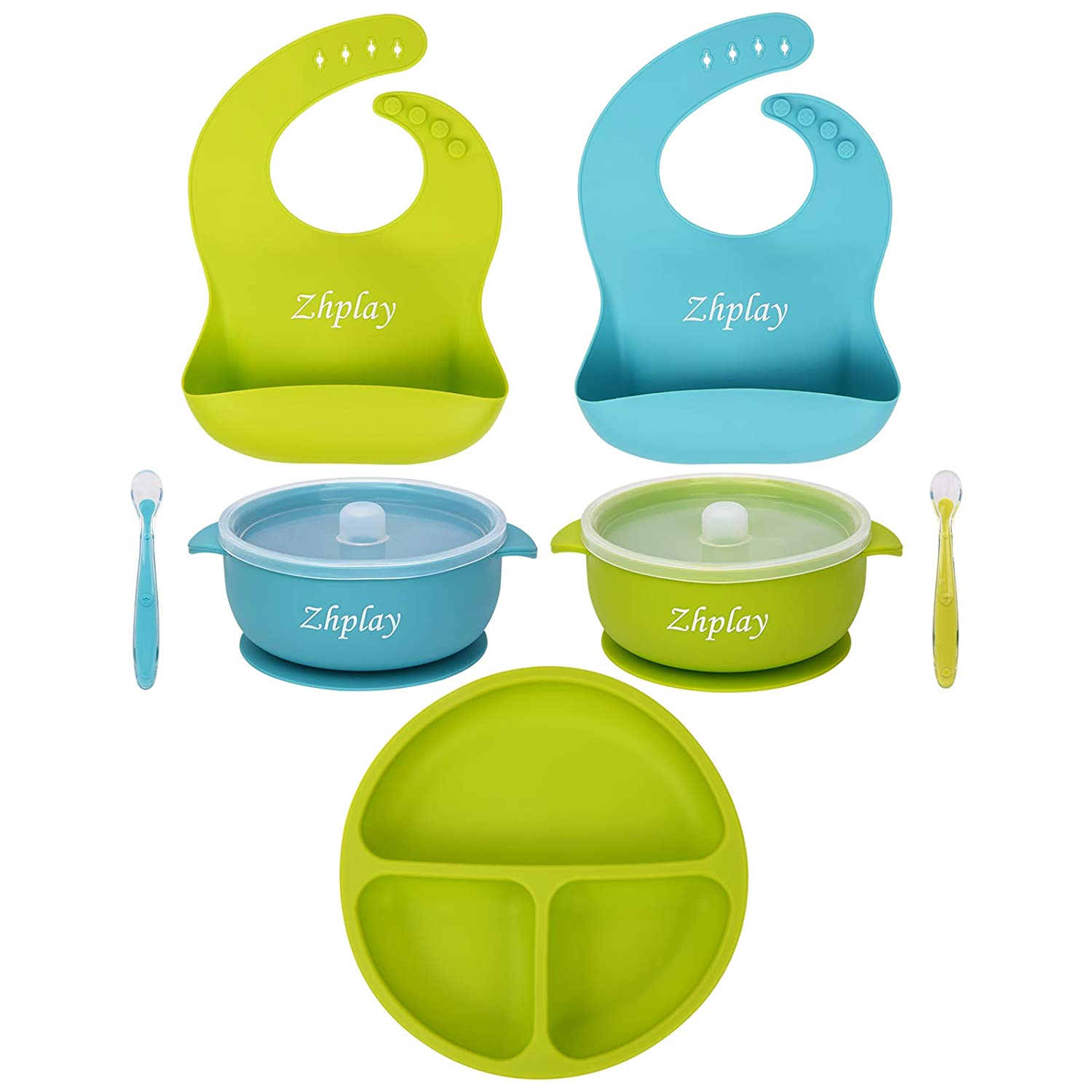 7 Piece Baby Feeding Set,2 Silicone Baby Bibs,2 Strong Suction Bowl&2 Soft Spoon Set,1 Divided Plate Suction Bowl,Food Grade Silicone,Safe and Clean,Best Gift for Baby