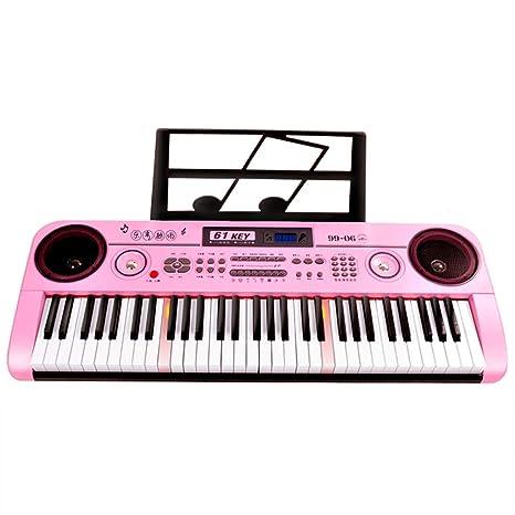 DUWEN Órgano electrónico infantil con micrófono Piano multifuncional de 61 teclas (Color : Pink)