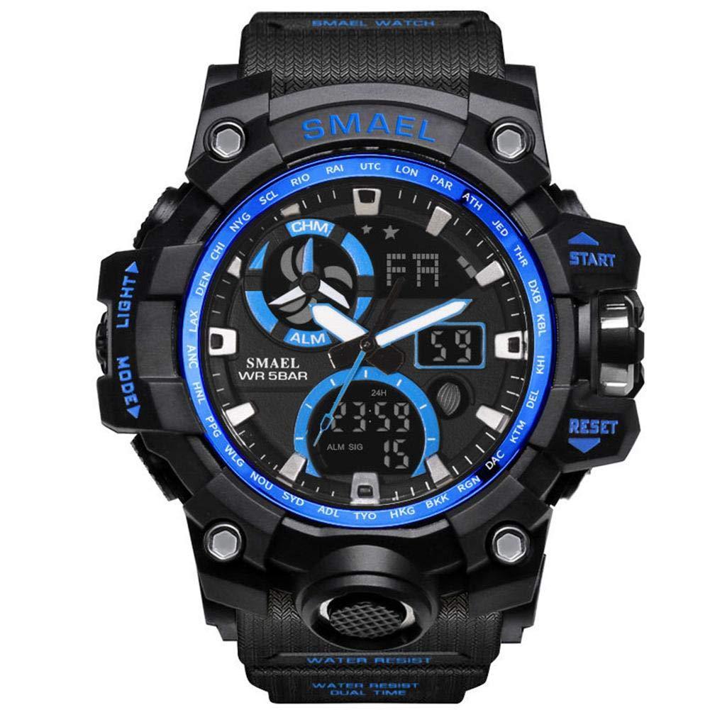 SMAEL Reloj De Cuarzo Cronógrafo para Hombres Reloj Inteligente- Keng 1545C Reloj Electrónico con Doble Pantalla para Hombres Reloj Despertador ...