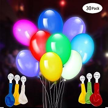 Gigalumi Leuchtende Luftballons 30 Stuck 5 Farben Blinken Bunt Led