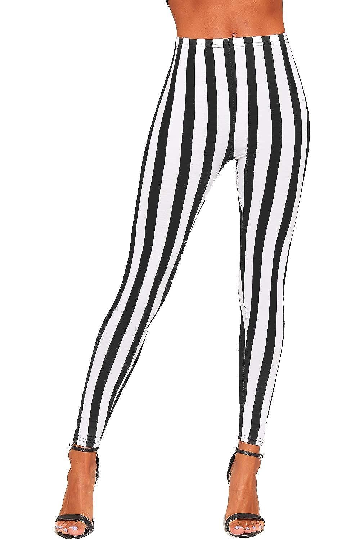 WearAll Women's Monochrome Contrast Stripe High Waist Stretch Leggings Ladies Elasticated 8-14 89564