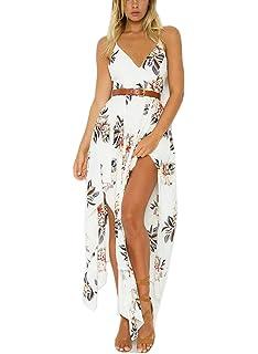 4c28413b368 FFLMYUHULIU Women s Strap Floral Print Backless V Neck Irregular Beach  Vacation Maxi Dress