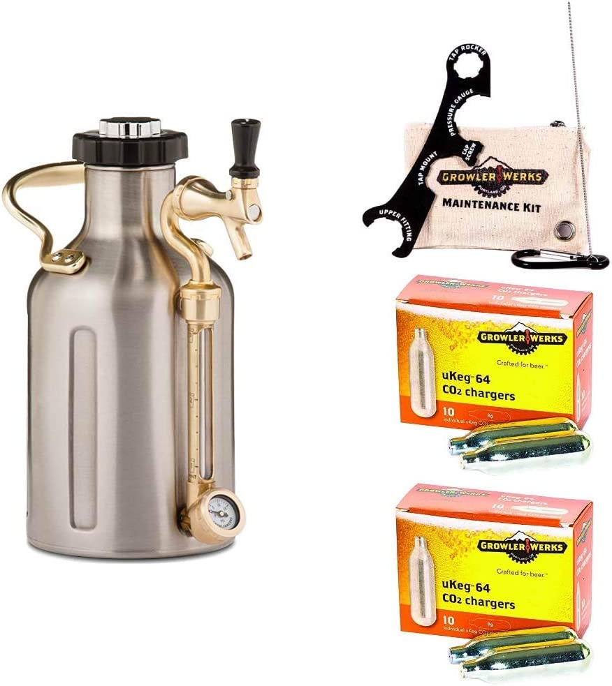GrowlerWerks uKeg Carbonated Growler, 64 oz, Stainless Steel, Maintenance and Cleaning Kit, 8g CO2 Chargers 2 Boxes X 10 Chargers each
