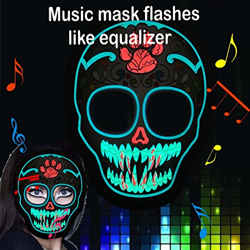 flashingworld Music Led Party Mask with Sound Active for Dancing,Riding,Skating,Party and Any Festival (Green Skull) -