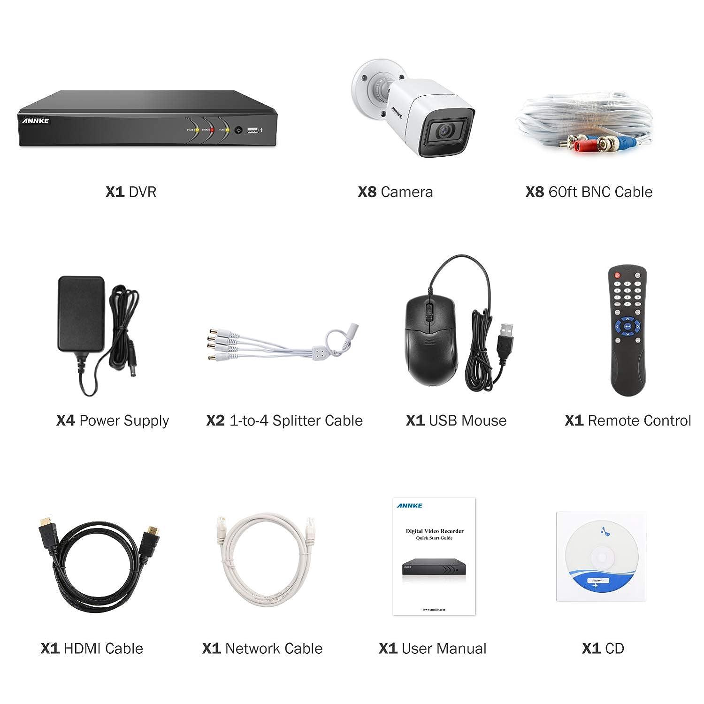 y 4/×4K HD C/ámaras de vigilancia IP67 Impermeable Alerta por correo electr/ónico con instant/áneas Acceso remoto-sin HDD ANNKE Kit Sistema de Seguridad 8CH DVR Ultra HD 4K H.265