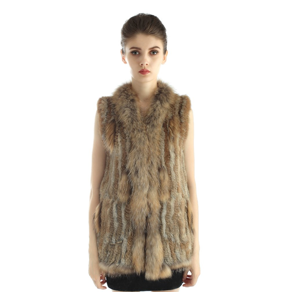OLLEBOBO Women's Genuine Rabbit Fur Knitted Long Vest with Collar Size M Straw Yellow