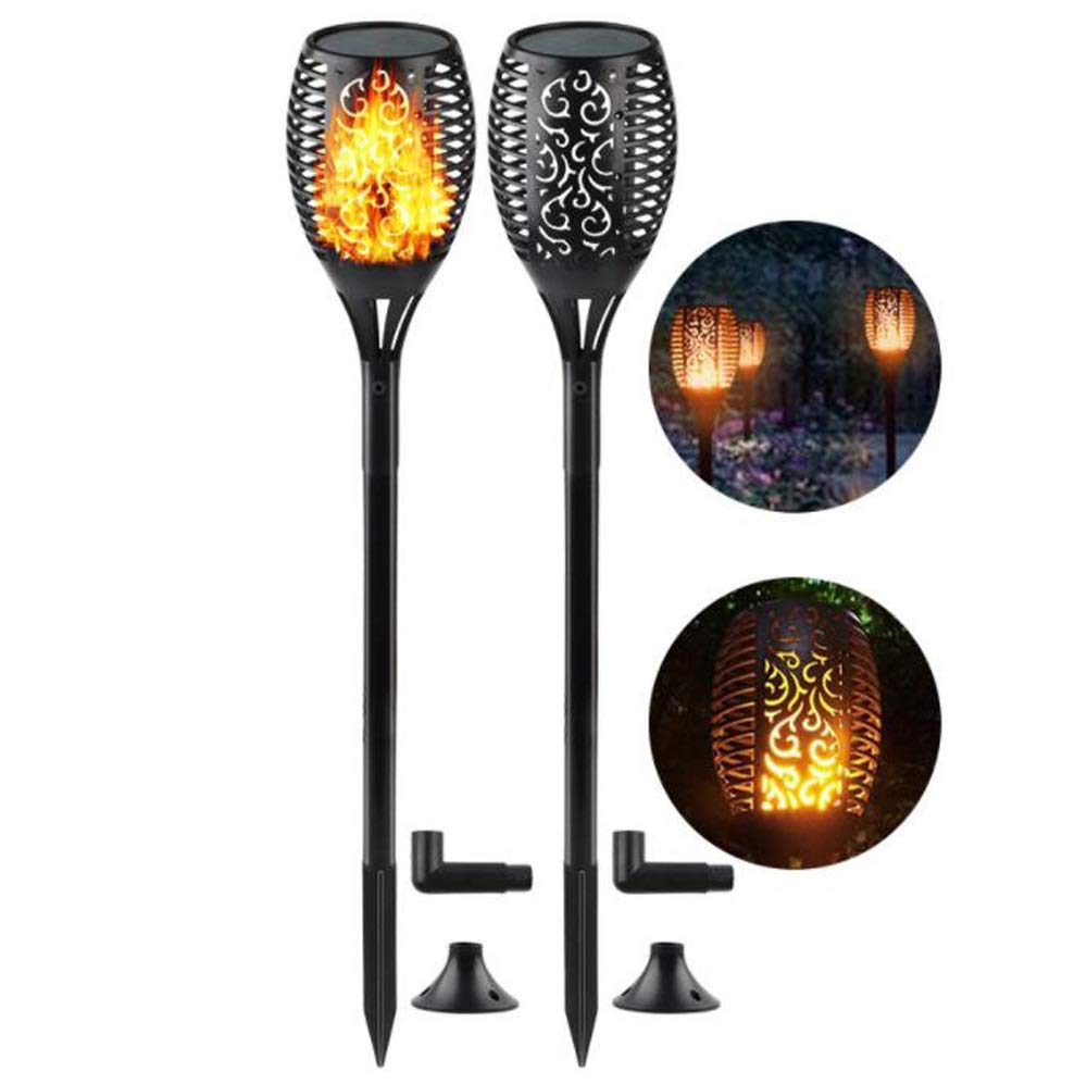 Outdoor Flame Light Flash Dance Solar Flashlight Light Landscape Decoration Lighting Dusk to Dawn Street Light Garden Terrace Garden 2 Pack
