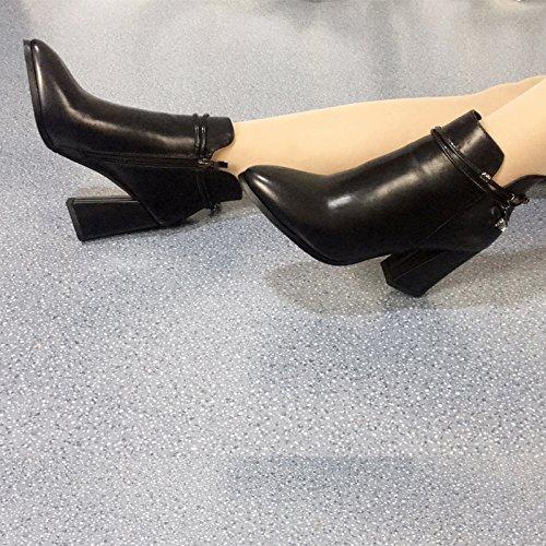 KHSKX-Neue Martin Stiefel Britische Nackt Stiefel Gesagt Schuhe Kurze Stiefel Winter - Und Winter Samt Zylinder Kurze Dicke Stiefel Und Retro - Stiefel black