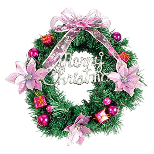 Sinwo DIY Merry Christmas Wreath Garland Window Door Decorations Bowknot Ornament Chirstmas Decor (Purple)