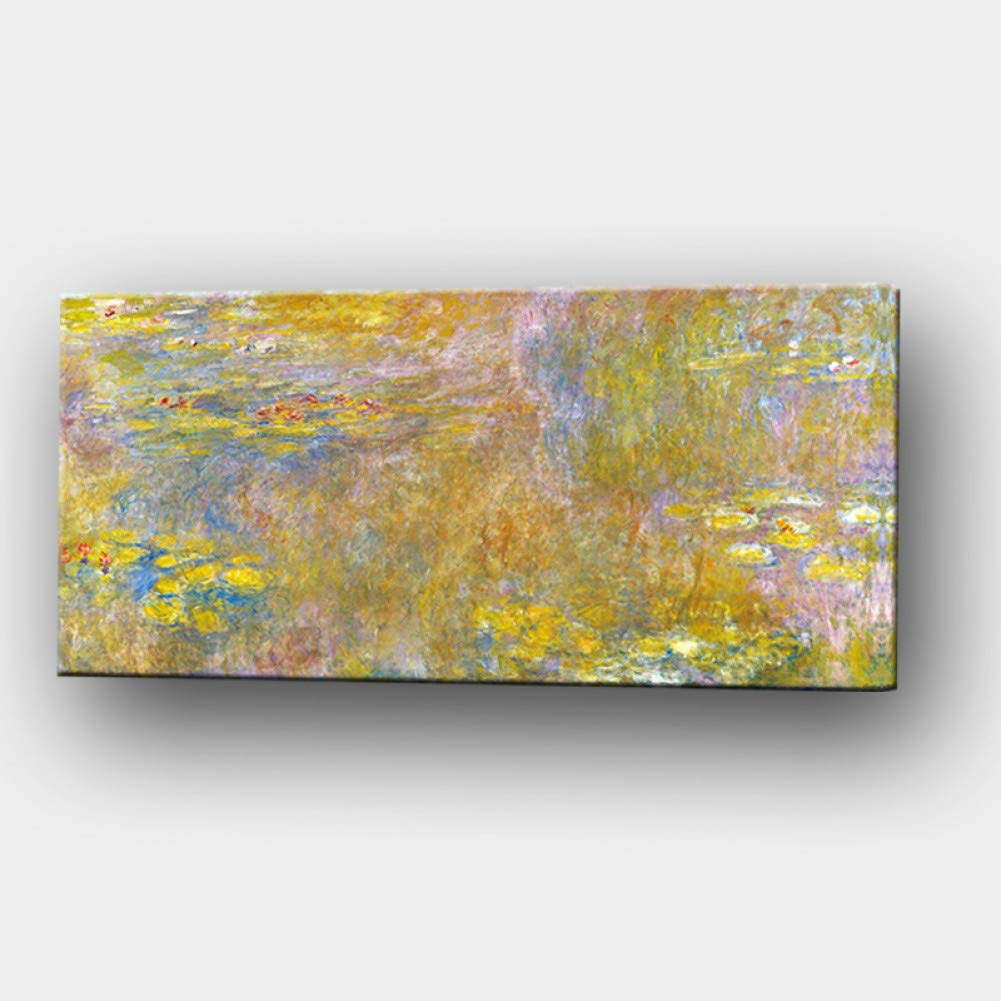 YJFFBH Print Wall Art Canvas Claude Monet Oil Painting Gold Lotus Landscape Oil Painting Impressionist Poster Picture For Living Room