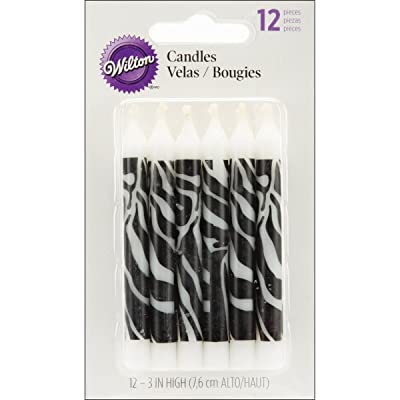 Wilton Zebra Print Candles, 12 Count: Birthday Candles: Kitchen & Dining