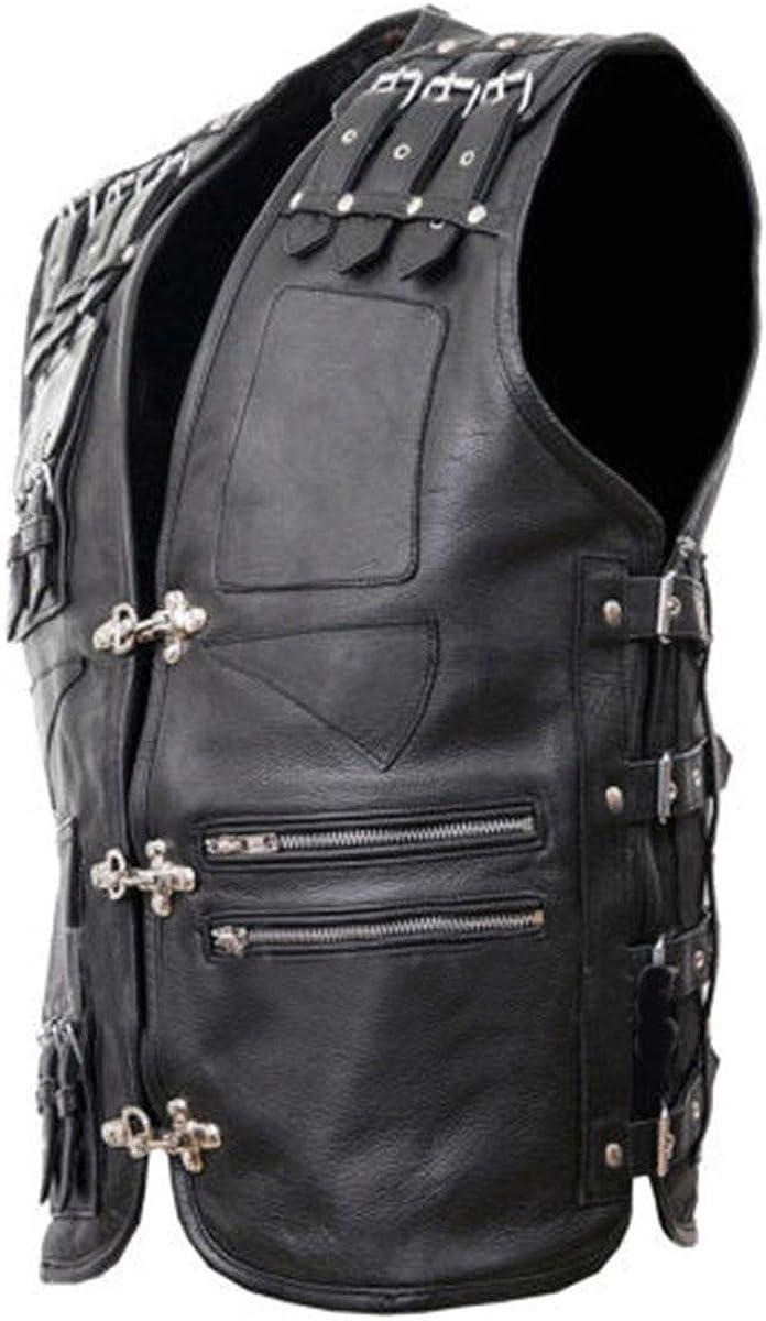 III-Fashions Mens Heavy Buckled Brando Motorcycle Vintage Biker Cowhide Leather Vest Black