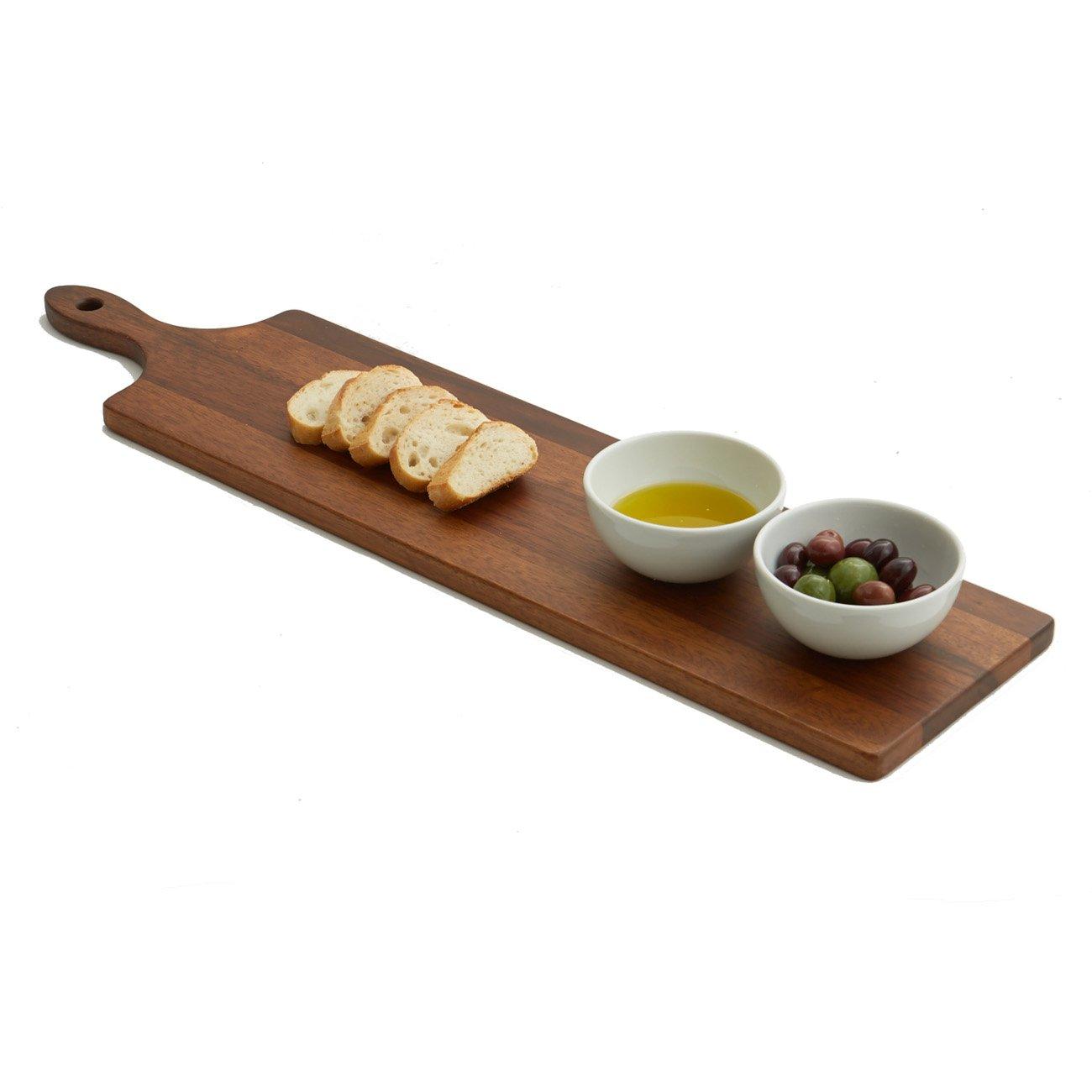 Woodard & Charles Paddle Board with 2 Dip Bowls, 26-Inch, Acacia Wood