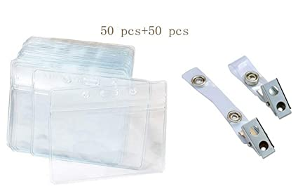 50 pcs en plastique transparent horizontal Nom Tag badge carte didentité + 50 pcs en acier inoxydable Bulldog Clip