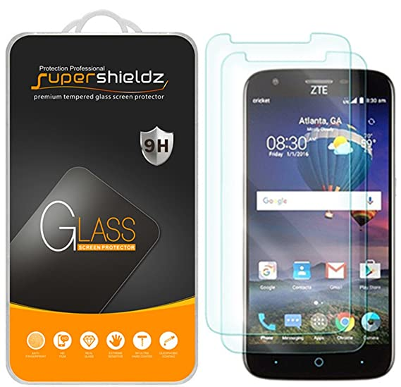 66f6b9862 Amazon.com: [2-Pack] Supershieldz for ZTE Avid 916 Tempered Glass ...