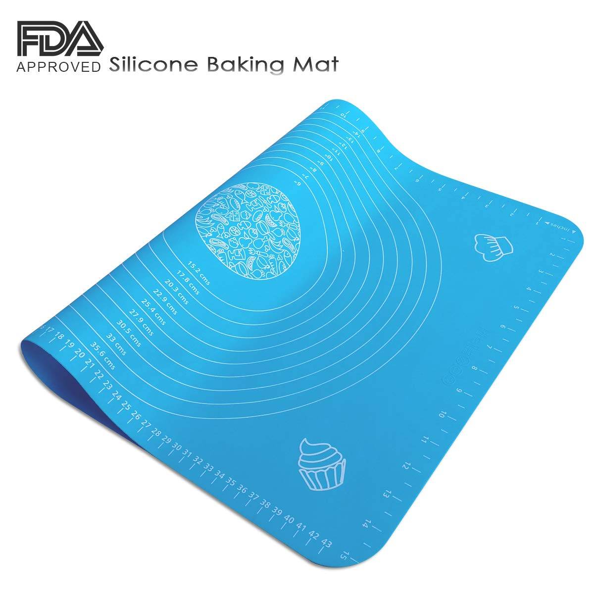 Silicone Pastry Mat with Measurements for Rolling Dough Non Stick Silicone Baking Mats Reusable Macaroon Baking mat LK10-BL