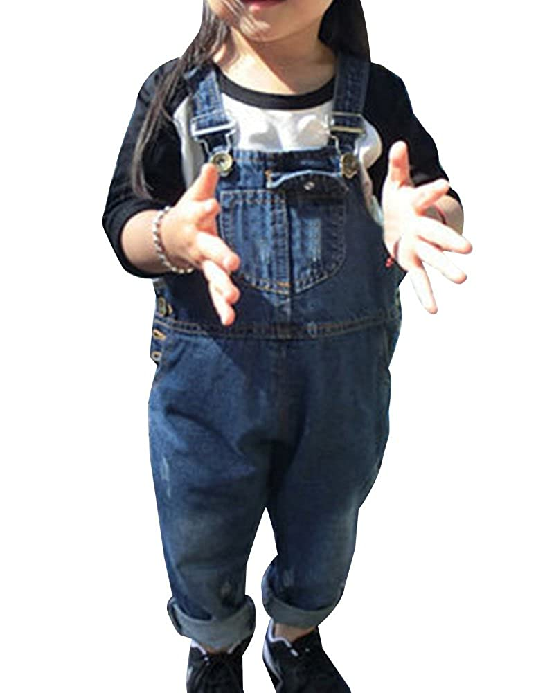 Guiran Denim Dungarees For Kids Stonewash Overall All in One Jean Playsuit Jumpsuit Adjustable Strap