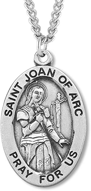 Heartland Engravable Mens Sterling Silver St Catherine Alexandria Oval Medal Choose Chain Customize