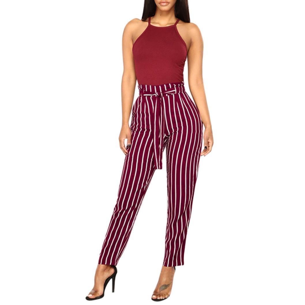 Women High Waist Harem Pants Women Bowtie Elastic Stripe Casual Leggings SWPS