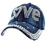 Elonmo Cute Letter Love Baseball Cap Jewel Rhinestone Bling Hats Jeans Wash Denim (Dark Blue)