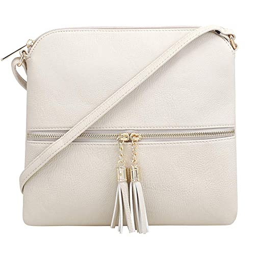 bb0b3b433e12 SG SUGU Lightweight Medium Crossbody Bag with Tassel and Zipper Pocket  (Beige)