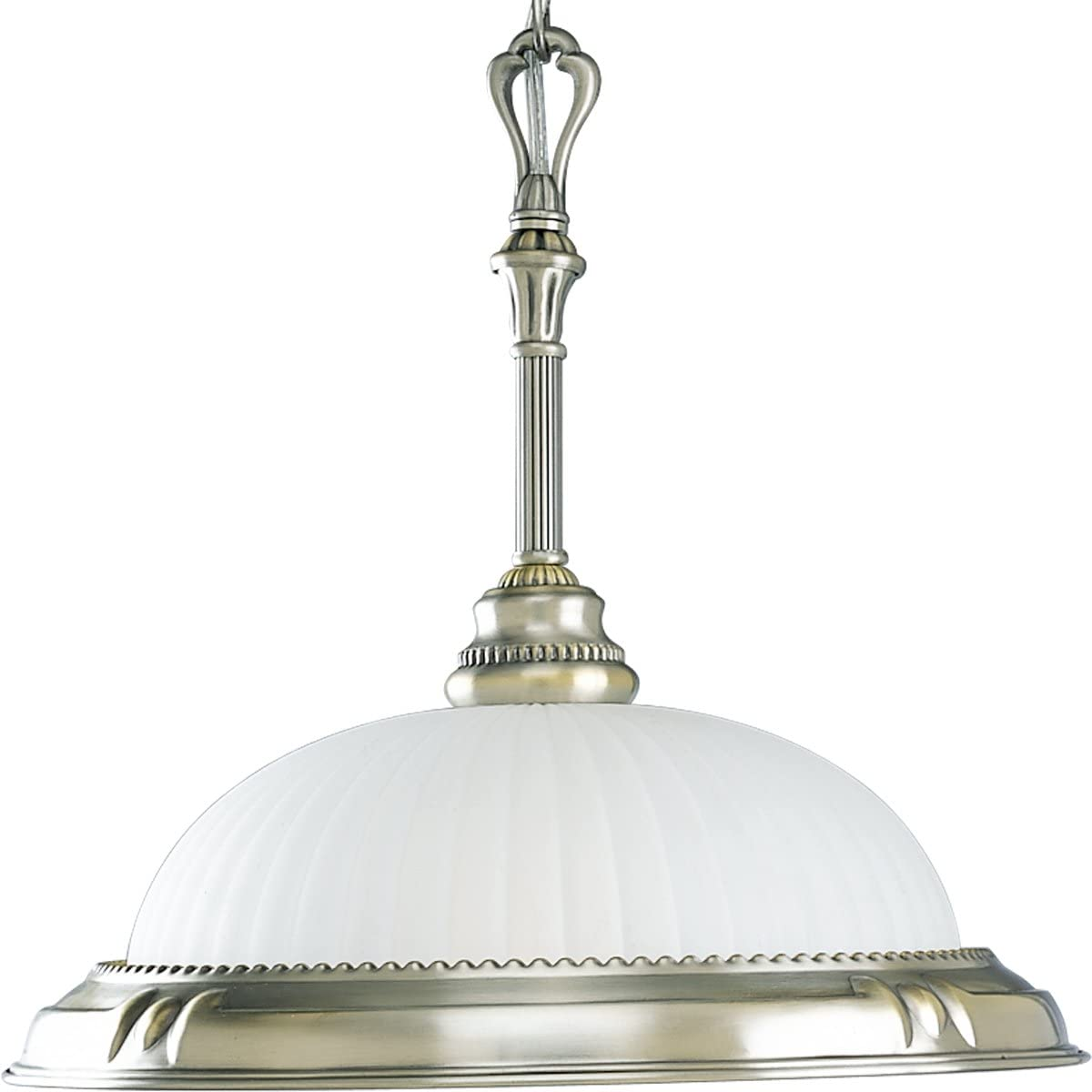 Progress Lighting P5008-43 One-Light Pendant with Etched Patterned Glass, Colonial Silver