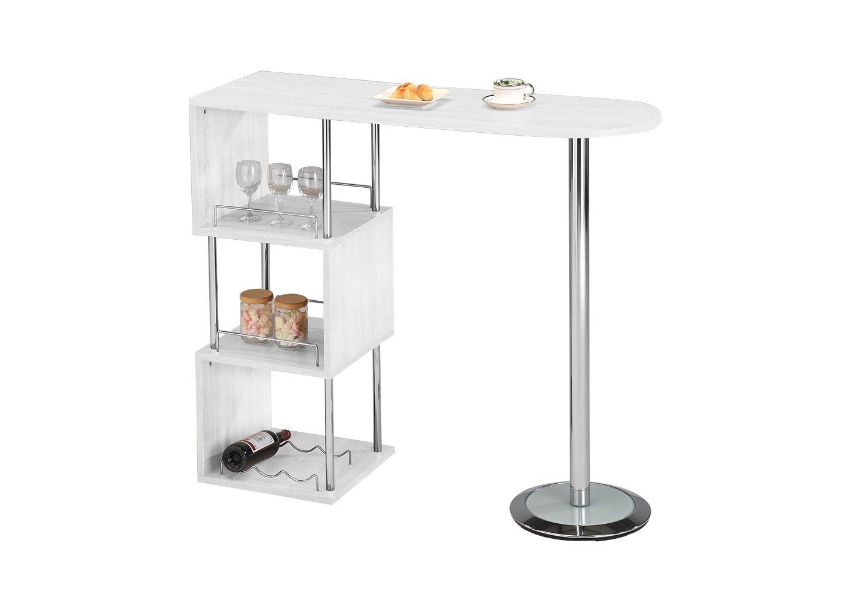 Pilaster Designs - Chrome Finish Bar Table with Storage Shelves (White)