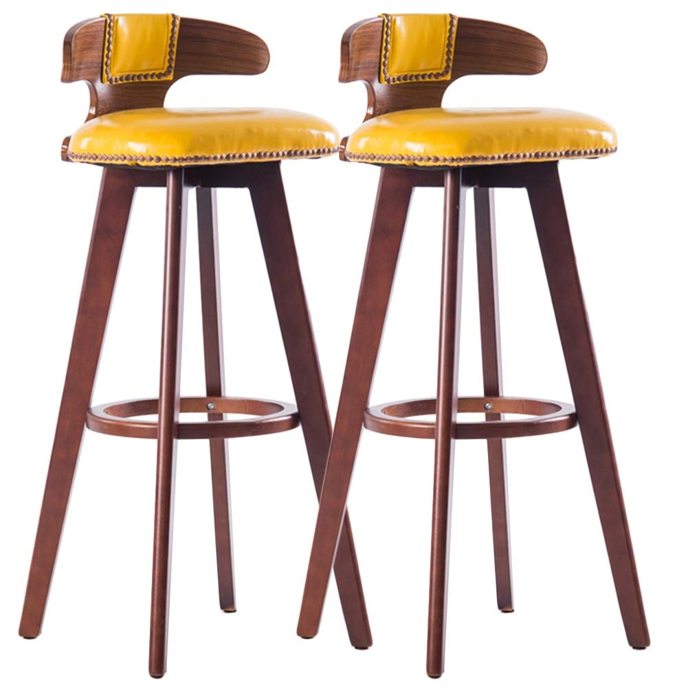 LIQICAI Wooden Bar Stool Set of 2 with Faux Leather Seat and Backrest Upholster Swivel Stool Footrest Extremely Comfy, 6 Colors Optional (Color : Yellow, Size : Brown Frame)